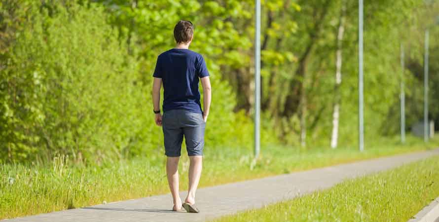Walking in green space